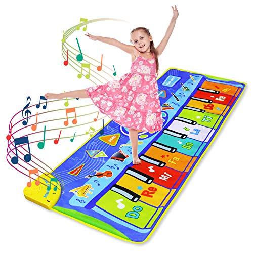 LEADSTAR Piano Mat Tanzmatten Klaviermatte Musikmatte, Klaviermatte mit 8 Instrumenten, Geschenk 3 4 5 6 Jahr Mädchen, Keyboard Matten Spielteppich Baby Tanzmatte für Jungen Mädchen Kleinkind, 130*48