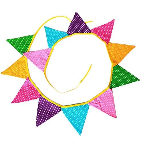 Outflower Banderole Tissu de Décorations de Fêtes d'anniversaire Guirlande Drapeau Triangulaire Le Centre Commercial/Salle de Classe/Jardin d'enfants/Fenêtre Décoration