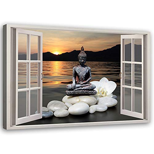 Bild auf Leinwand Buddha Kunstdruck modern Fensterblick Mehrfarbig 90x60 cm