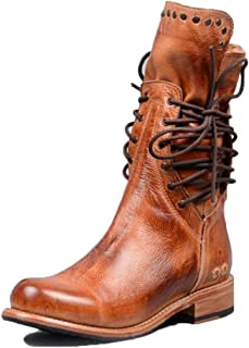 Womens Mid-Calf Biker Boots Vintage Rivets Leather Round Toe Riding Boots Ladies Flat Low Heel Lace Up Zip Combat Army Military Boots Classic Retro Boots