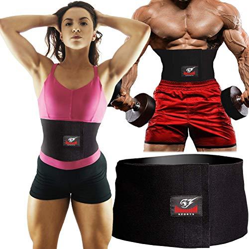 ARMAGEDDON SPORTS Bauchweggürtel Bauchgurt Abnehmen Taille Trimmer Gürtel, Sport Reduzierung Gürtel für Damen und Herren, Schwarz, Universalgröße bis 120 cm Taille