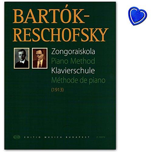 Piano Method - piano school van Béla Bartók - taal: Duits, Engels, Frans - boek met kleurrijke hartvormige muziekklem