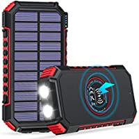 Addtop Wireless Portable Charger with Dual Flashlights (Red)