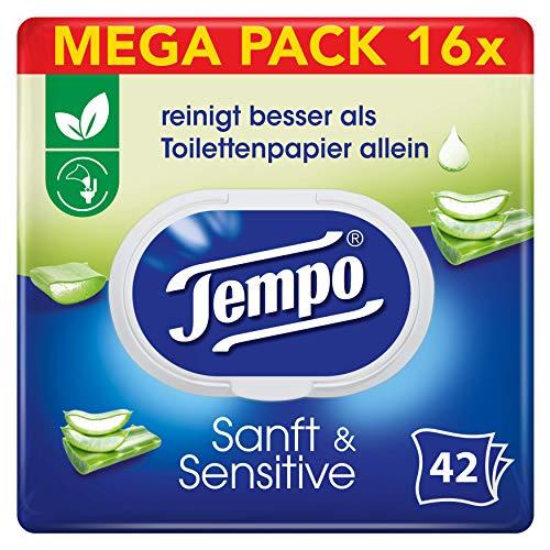 mächtig Tempo Soft Sensitive Moist Toilettenpapier Jumbo Pack (16 Packungen mit je 42 Tüchern)