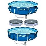 Intex Metal Frame Swimming Pool with Filter Pump(2 Pack) & Debris Cover (2 Pack)