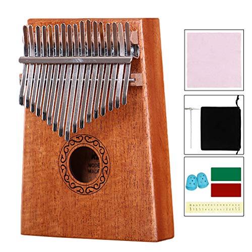 Jky Duim-piano met 17 knoppen, draagbare vingerpiano met mahoniehout, voor kinderen, volwassenen, beginners, cadeau voor verjaardag, Kerstmis, Valentijnsdag