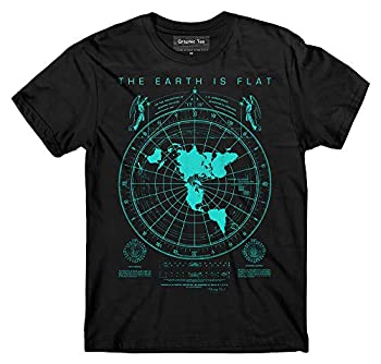 Smart People Clothing  Flat Earth Map t-Shirt Earth is Flat Firmament NASA Lies New World Order Black X-Large