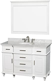 Wyndham Collection Berkeley 48 inch Single Bathroom Vanity in White with White Carrara Marble Top with White Undermount Oval Sink and 44 inch Mirror