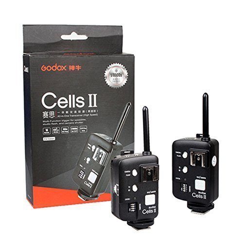 Godox Cells II Kit(2pcs) 1/8000 Sync Speed All-in-One Wireless Remote Ettl Ttl Flash Trigger Canon with Trigger Reveiver and Transmitter also As Wireless Shutter Release for Canon EOS DRSL Camera Conn