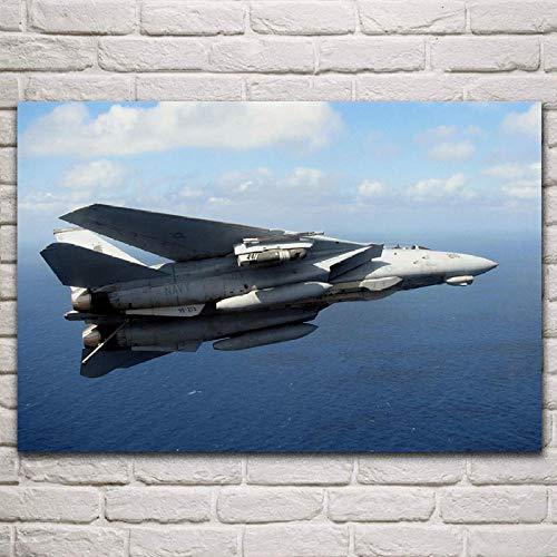 VVSUN US Navy f14 Tomcat Aircraft Pintura en Lienzo decoración de la Sala de Estar decoración del Arte de la Pared del hogar Carteles de Tela, 60x90cm(sin Marco)