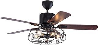 Ventilador de techo con iluminación y mando a distancia de 52 pulgadas, industrial, lámpara de techo Semi Flush, vintage, retro, lámpara de araña, antigua, 5 luces