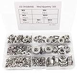 165 piezas Tuercas de brida Kit 304 Tuercas de brida hexagonales de acero inoxidable Kit s...