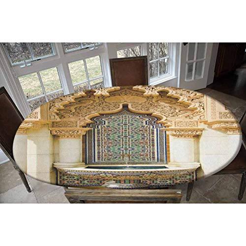 Mantel de poliéster elástico marroquí, diseño vintage, fachada exterior histórica con estampado de mosaico, mantel rectangular o ovalado, se adapta a mesas de hasta 122 cm de ancho x 172 cm de largo
