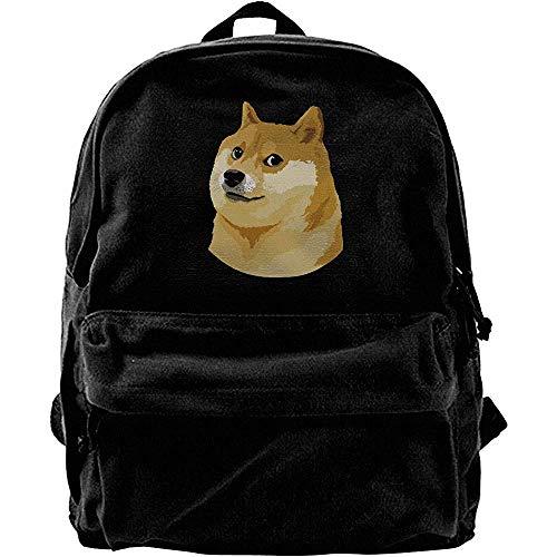 Yuanmeiju Bolsas de Libros para la Escuela universitaria, Mochila clásica de Lona, Mochila de Viaje, Mochilas para computadora, Mochila de Hombro Informal Cute Face Doge Meme