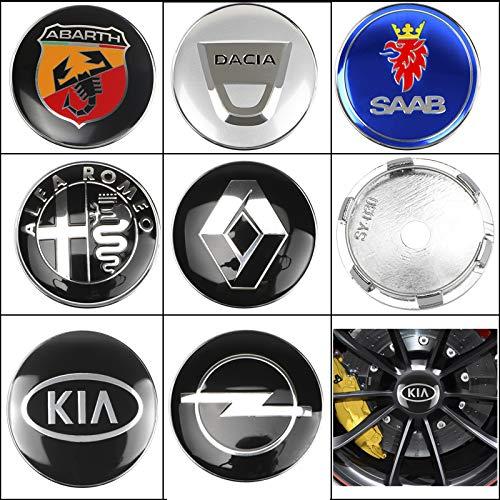 JUULLN Cubierta Central 4 60mm Wheel Center Hub Caps Coche Logo Insignia Emblema Logo Centro de Ruedas Caps para BMW Mazda Audi Hyundai Kia Mercedes Lexus Skoda Tapacubos (Color : Volkswagen)