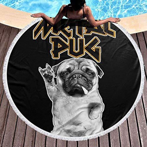Toalla de Playa Redonda Manta Heavy Metal Music Pug Manta de Playa de Gran tamaño con borlas Alfombra multifunción de Microfibra Ultra Suave