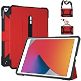 iPad 10.2 Case 8th Gen 2020/7th Gen 2019, Ultra Thin Lightweight Flexible TPU Shockproof Shell Auto Sleep/Wake Protective Cover Foldable Kickstand for Apple iPad 8/7 th Generation 10.2 Inch - Red