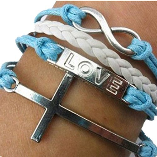 Vintage Style Black White and Blue Leather Rope Love Letters Cross Love Bracelet