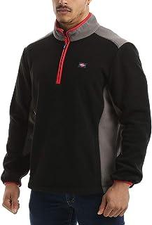 Lee Cooper Workwear Men's Zip Neck Thermal Anti Pill Fleece Work Pullover Sweater Jumper Top With Reflective Detail
