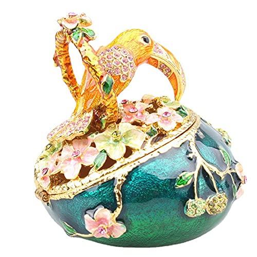 KKJJ Joyero Esmaltado, Pájaro Tucán Caja de Joyas Baratija Enjoyado Pájaro Miniatura Figuritas de Pájaros Decoración Regalos,Verde
