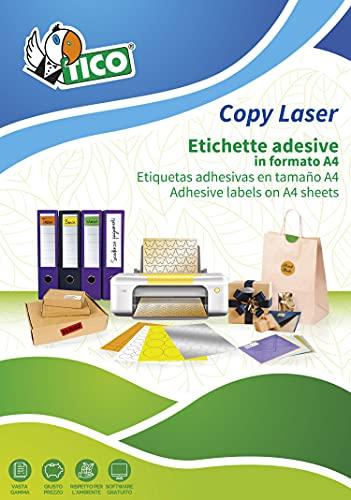 Tico Italia LP4W-210297, LP4W-9742, Etichette adesive bianche, 97 x 42.3mm, 12 etichette per foglio, adesivo permanente, stampanti laser e inkjet, confezione da 100 fogli