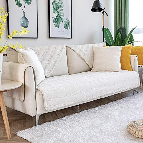 Suuki Protector para Sofás,Funda de sofá en Forma de L,Fundas de sofá de Felpa en Aerosol,Cubierta de Muebles,Protector de sofá de Esquina,Fundas de sofá de Oficina de Invierno-Beige_Los 70 * 180cm