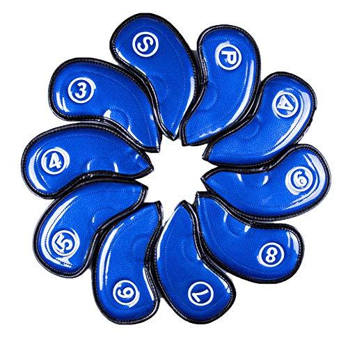 Zjcpow Schlägerkopfhüllen für Eisen Golf Crystal Fabric Eisen-Abdeckung Golf Club Abdeckkappe Abdeckung Kopf-Abdeckung und Holzschlägerkopf Bezüge Set (Color : Blue, Size : One Size)