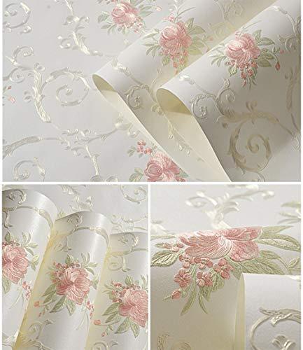 GLOW4U Papier peint décoratif décoratif en forme de fleur en relief avec décolleté et colle pour mur de salon, chambre à coucher, décoration murale 53 cm x 3 m