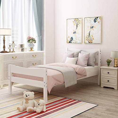Merax Wood Platform Bed Twin Size Bed Frame for Kids Bed with Wooden Slat Support Twin Size ( White )