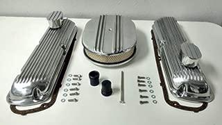 Sb Finned Aluminum Valve Cover W/Air Cleaner Kit Sbf V8 260 289 302 351W