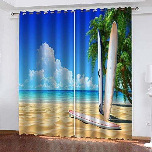 UDKHJH Cortina Sombreado Dormitorio 3D Playas Tablas De Surf Palmeras Mar Cortinas Térmicas De Salón Dormitorio Anti Ruido Para Ventana De Habitaciones Infantiles Juveniles 150X166Cm