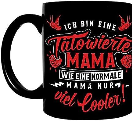 Preisvergleich für Kaffeetasse schwarz 300ml große Tasse bedruckt mit Spruch Tätowierte Mama