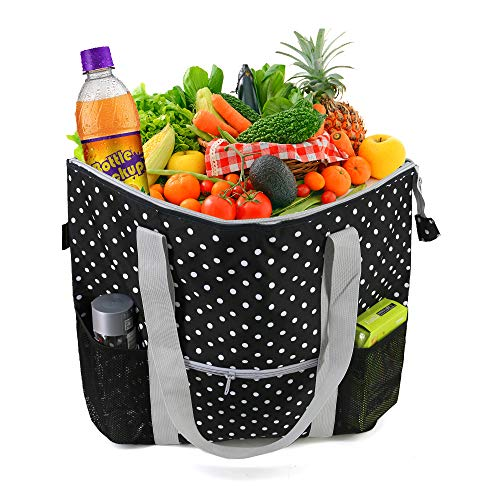 Large Capacity Cooler Grocery Tote Bag Hot Bag for Food Delivery Strong Washable Insulated Shopping Bags w Zipper Closure Polka Dots Printing