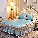 KIKIGO Estera Antideslizante de Salud,esteras de Verano,Three-Piece Lace Bed Skirt Bed Cover, Soft Air-Conditioned Mat, Machine Washable-B7_150*200cm Three-Piece Set