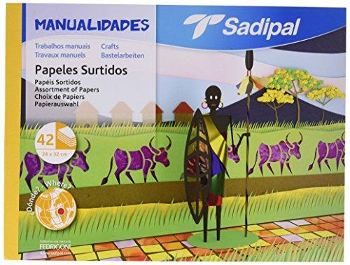 Sadipal Bloc de varios papeles sortidos para manualidades, Multicolor