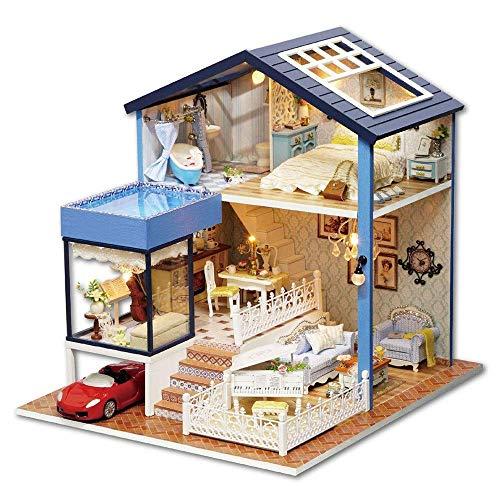 N/Z Home Equipment Puppenhaus DIY Miniaturzimmer Set-Woodcraft Baukasten-Holzmodellbau Set-Mini Haus Handwerk Beste Geburtstagsgeschenke Häuser (Farbe: Gelb Sportwagen Größe: 24x27.27.2cm)