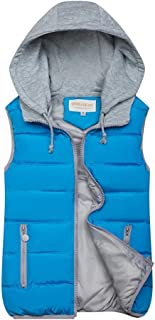 Women's Hooded Padding Puffer Vest Sleeveless Lightweight Winter Coat Warm Zip Quilted Gilet Jacket with Pockets