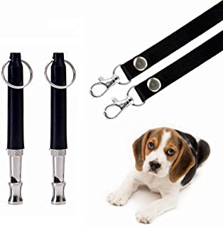 HEHUI Dog Whistle to Stop Barking, Adjustable Pitch Ultrasonic Training Tool Silent Bark Control for Dogs- Pack of 2 PCS Whistles with 2 Free Lanyard Strap (2whistle)