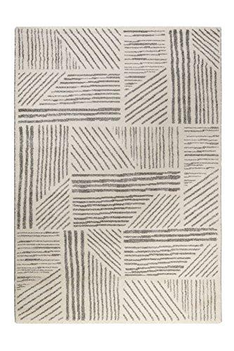 Esprit home I Moderner Kurzflor Teppich - Läufer für Wohnzimmer, Flur, Schlafzimmer I Scribble I Weiß mit grauem Streifenmuster I (80 x 150 cm)