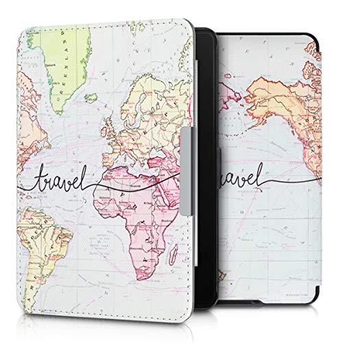 kwmobile Carcasa Compatible con Amazon Kindle Paperwhite - Funda para Libro electrónico con Solapa - Mapa Mundial