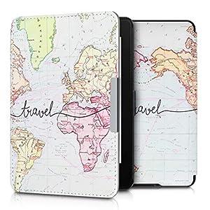kwmobile Funda Compatible con Amazon Kindle Paperwhite - para eReader - Mapa Mundial (para Modelos hasta el 2017)