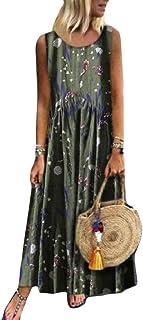 MK988 Women's Plus Size Flower Print Loose Fit Sleeveless Casual Beach Party Maxi Dress Sundress