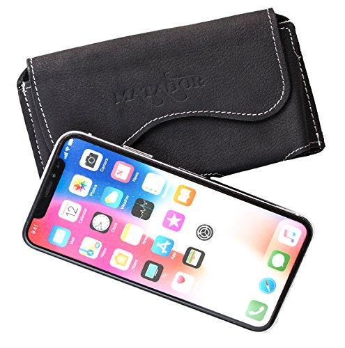 MATADOR Leder Ledertasche Lederhülle Handytasche Gürteltasche Hülle kompatibel mit Apple iPhone X/XS oder iPhone 11 Pro Gürtelclip/Schlaufe Magnetverschluss (Schwarz)