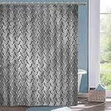 Cloth Shower Curtain Grey Diamond Plate Effects Fabric Shower Curtain W70 xL74