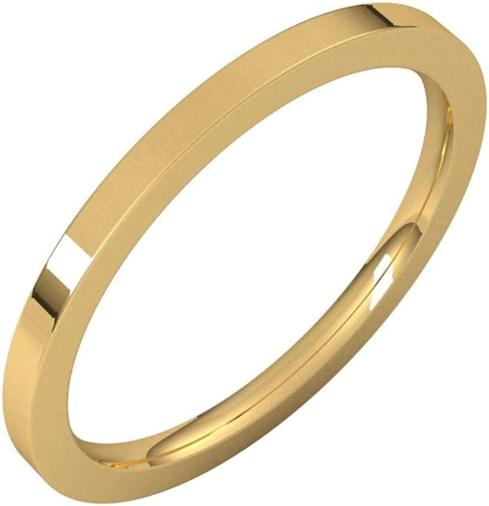Solid Product 18k Yellow Gold 1.5mm Indefinitely Flat Comfort C Ring Band Fit Wedding