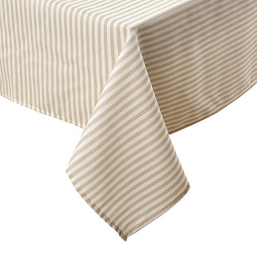 Deconovo Tischdecke, gestreift, für Partys, 137 x 137 cm, Beige und Weiß