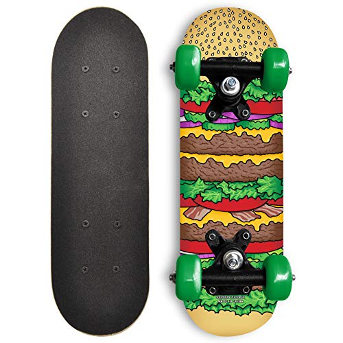 Rude Boyz 17 Inch Mini Wooden Cruiser Graphic Beginner Skateboard Cheeseburger Design
