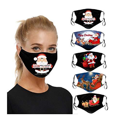 5 Stück 2020 Christmas Mundschutz 𝓶𝓪𝓼𝓴, Mund und Nasenschutz Waschbar Schwarz, Mundschutz mit Weihnachten Drucken, Atmungsaktive Wiederverwendbare für Erwachsene