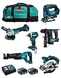 MAKITA Kit MK602 (DHR171 + DGA504 + DTD154 + DJR186 + DJV182 + DSS610 + 2 Batterie 5,0 Ah + Caricabatterie + 2 x LXT600)