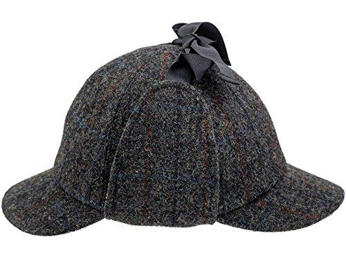 Sterkowski Jagd Harris Tweed Sherlock Deerstalker Mütze 58 cm Dunkelgrau